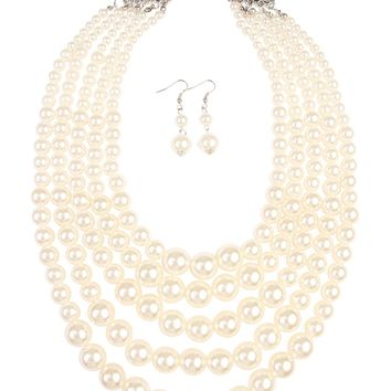 Chunky Pearl Necklace and Earring Set