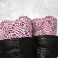 Knit leg warmers in dust pink, Boot cuffs, Boot toppers