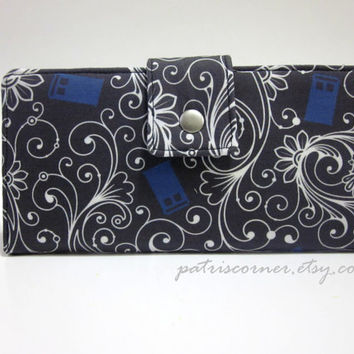 Handmade women long bifold wallet Doctor Who TARDIS blue - Custom - Clutch