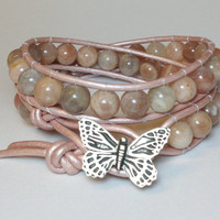 Golden Moonstone Double Wrap Bracelet on Pale Pink Leather Cord w/ Butterfly