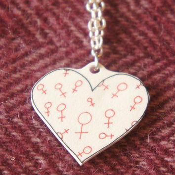 Venus symbol pendent, heart-shaped pendent. Handmade, on silver nickel chain. Cute feminist necklace, excellent feminist jewellery. Pro-LGBT