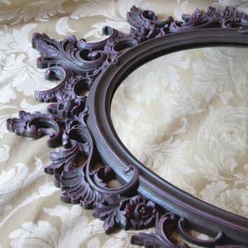 Vintage Syroco Dart Ornate Oval Mirror Taupe Pink Hand Painted