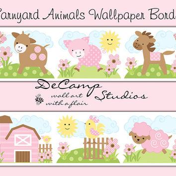 PINK BARNYARD FARM Animals Wallpaper Border Wall Decals Baby Girl Nursery Kids Cute Room Childrens Cowgirl Bedroom Cow Horse Pig Sheep Decor