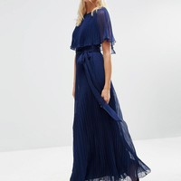 ASOS | ASOS Ruffle Cape Front Pleated Maxi Dress at ASOS