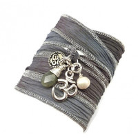 Silk Wrap Bracelet with Om Charms,Pearl, and Labradorite