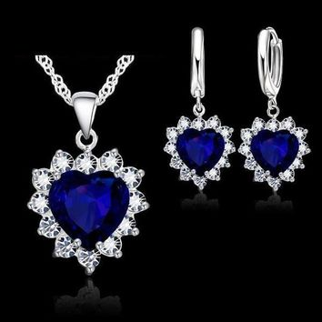 Crystal Heart Police Awareness Halo Necklace and Earrings Set