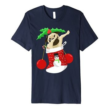 Dabbing Pug Christmas Stocking Funny Christmas Dogs Tshirt