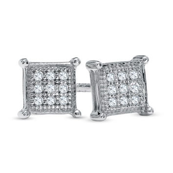 Diamond Accent Composite Princess Stud Earrings in 10K White Gold