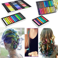 6/12/24/36 Colors Non-toxic Temporary Hair Chalk Dye Soft Pastels Salon Kit New