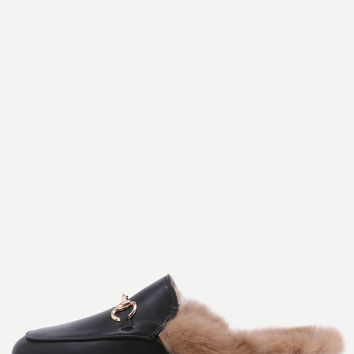 Black Faux Leather Fur Lined Slippers | MakeMeChic.COM