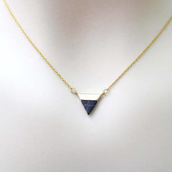Black, Marble, Triangle, Gold, Necklace, Lovers, Friends, Mom, Sister, Christmas, New year ,Gift