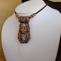 Peruvian Blue Opal Hippie Gypsy Necklace Clay Opal Bohemian Pendant Sam Art Healing Blue Opal Goddess