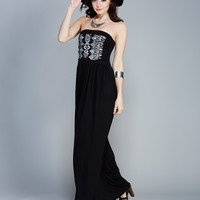 Metallic Print Strapless Maxi Dress | Wet Seal