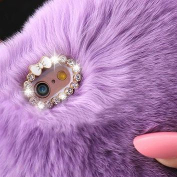 Warm Fluffy Villi Fur Plush Wool Bling Case Cover Skin For iPhone 6/ 6S Plus