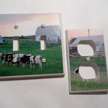 Cows and Rustic Barns Double Light Switch and by myevilfriend