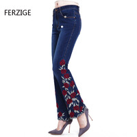 Woman Jeans Bell Bottom Jeans Embroidered High Stretch Womens Flared Pants Ladies Flowers Embroidery Blue  Jeans Mujer Femme 36