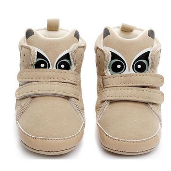 Winter Super Warm Cute Animal Print Cotton Fabric Beige Baby Boots First Walkers Infant Toddler Baby Moccasins Baby Shoes