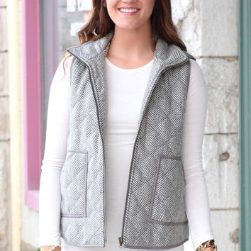 Herringbone Quilted Tweed Vest {Grey}