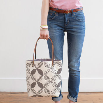 Double Wedding Ring Tote Bag in Charcoal, Hand Printed Canvas, Leather Straps