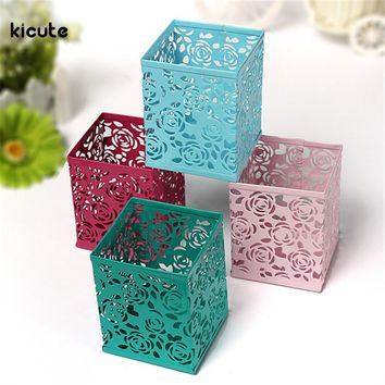 Metal Hollow Rose Flower Pattern Square Pen Pencil Pot Holder Organizer Container Case Storage For Office School Supplies