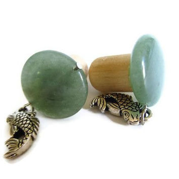 Wooden Ear Plugs 1/2 inch 12mm Jade and Koi fish by PinkCupcakeJC