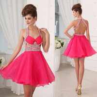 Fuchsia Organza with Strap Backless Homecoming Dresses,Hot 09