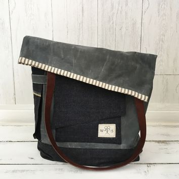 The Porter -  Waxed Canvas, Denim & Leather Tote Bag