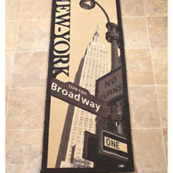 "20"" x 60""  New York Broadway Runner Rug City Image Nonslip  Home Decor"