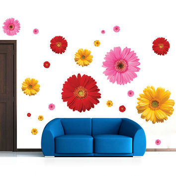 6 designs creative daisy sakura flowers pot wall stickers home decorations 6008. diy vine decals living room mural art posters