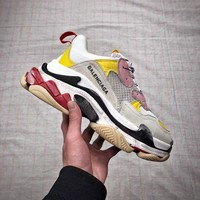 [ Free Shipping ]Balenciaga Triple-S White /Yellow / Pink Sneaker