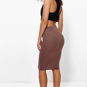 Petite April Basic Midi Bodycon Skirt | Boohoo