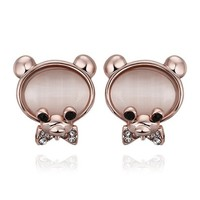 MLOVES Women's Unique Cute Opal Little Bear Ear Cuffs