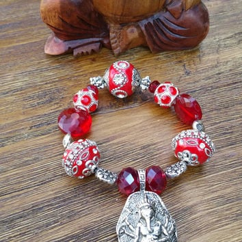 Glam Collection - One of a kind Red Crystal Beaded/Silver Ganesha Pendant Bracelet Hand Made