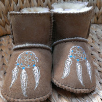 Custom Dream Catcher and Feather Baby Moccasins