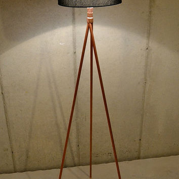 Handmade Copper Tripod Standing Lamp Base, Tall Minimalist Floor Lamp
