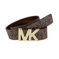 Michael Kors Signature Gold MK Logo Brown Belt