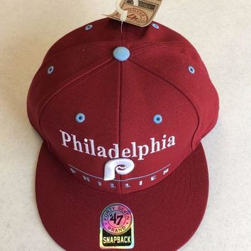 CREYONC. 47 BRAND PHILADELPHIA PHILLIES RETRO MAROON SCRIPT SNAPBACK ADJUSTABLE HAT