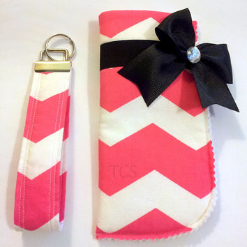 Chevron Pink and White Sunglasses Case and Key Fob Set