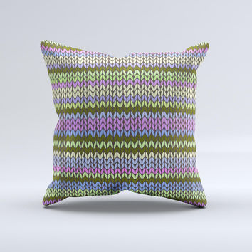 Colorful Knit Pattern ink-Fuzed Decorative Throw Pillow