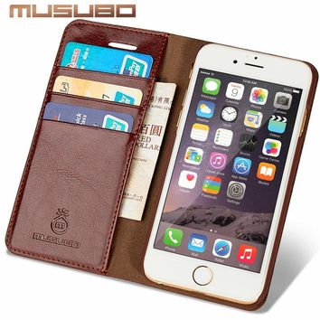 Musubo Leather Case For iPhone 8 Plus 7 Plus Luxury wallet phone bag Cover for iphone X 6 Plus 6s Plus 5 5s SE 4 4s flip cases