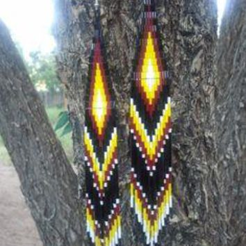 Native American Made Beaded Shoulder Duster Earrings