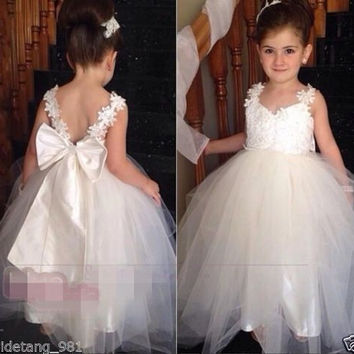 New Arrival Little Girl Ball Gown Scoop Appliqued Glitz Pageant Flower Girls Dress For Children Flower Girl Dresses For Weddings
