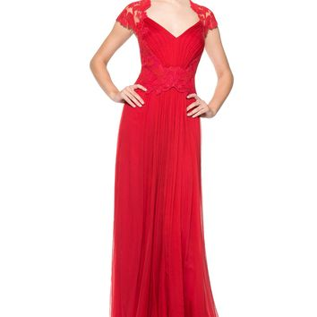 CORDED EMBROIDERY ON TULLE BODICE QUEEN ANN CAP SLEEVE GOWN