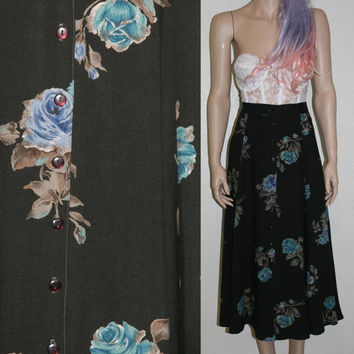 80s 90s floral button up high waist maxi from Retro Amour
