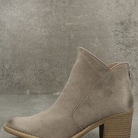 Noelani Taupe Suede Ankle Booties