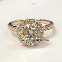 Moissanite Engagement Ring in 14K Rose Gold - 7mm Round Moissanite Ring,Wedding Band Bridal Promise ring