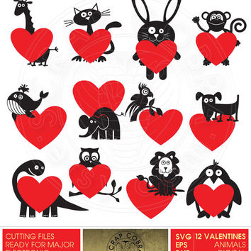 Valentine's Animals Clip Art - SVG, eps, DXF, PNG Cut Files - Silhouette, Cricuit, other electronic cutting machines, Digital Download cv120