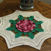Giant Rose Table Topper - Irish Crocheted Rose Art Decor by RSS Designs In Fiber