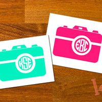 Camera Monogram Decal Sticker - Custom Circle Monogram - DIY decal - car decal, laptop decal, cell phone decal , binder, mason jar sticker