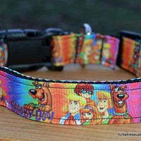 New! Dog collar. Tie dye Scooby Doo - Choose YOUR size.